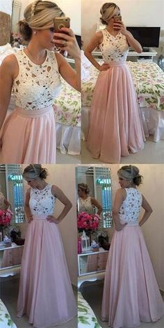 d86e36dcd0f Long Pink Chiffon White Lace Fashion Evening Party Prom Dresses