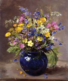 Wild Flowers in a Blue Vase, by Anne Cotterill ~ Signed Print from the Painting by Mill House Fine Art . Oil Painting Flowers, Oil Painting On Canvas, Watercolor Flowers, Watercolor Paintings, Painting Clouds, Drawing Flowers, Painting Abstract, Oil Paintings, Painting Art