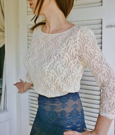 Aria De Amor ivry bridal lace top ivory lace blouse by angelikaliv, $129.90