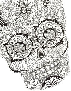 Skull Coloring Pages, Printable Adult Coloring Pages, Animal Coloring Pages, Coloring Books, Mandala Coloring, Doodle Patterns, Zentangle Patterns, Tracing Art, Zodiac Art