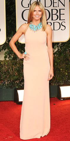 Heidi Klum in Calvin Klein and turquoise jewelry at the Golden Globes