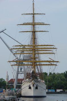 July 2, 2010: Gorch Fock seen at the Marinearsenal, Wilhelmshaven, Germany.