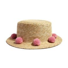f9b639439d0ac Straw boater hat with pom poms for women summer flat brim sun hats