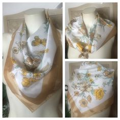 "VTG Floral & Butterfly Print Scarf ~ Made in JAPAN Subtle beauty appears in this vintage Scarf by GLENTEX. A floral & butterfly motif in buttercup yellow, sage green, black, and hues of beige against a silky white background. Made in JAPAN ~ 100% acetate. Measures approx. 27"" square. Smoke and fragrance free. In excellent preowned vintage condition. Please see additional scarves under ""accessories"" tab. Vintage Accessories Scarves & Wraps"