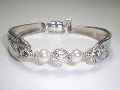 Vintage Spoon Bracelet w/Freshwater Pearls by BUILDABRACELETORG, $22.50