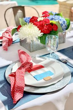 Take a look at this fab July 4th party! The table settings are so pretty! See more party ideas and share yours at CatchMyParty.com