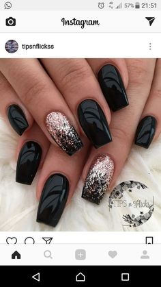 "So beautiful ""Black & Bling"" - #nailartgalleries #nail #art #galleries"