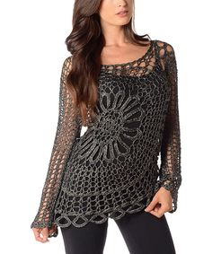 Black Open-Weave Crochet Sweater by Shoreline #zulily #zulilyfinds