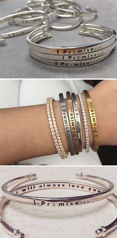 Bracelets and diamonds and promises and bling. These are a few of our favorite things! Meaningful jewelry inscribed with inspiring messages- Shop IPromise!