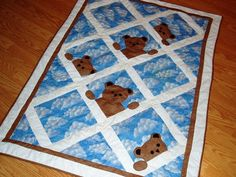 bear baby quilt and other baby quilts bear baby quilt another bear quilt buny baby quilt Quilt Baby, Baby Boy Quilt Patterns, Cute Quilts, Easy Quilts, Small Quilts, Children's Quilts, Baby Gifts To Make, Cute Baby Gifts, Sewing Art