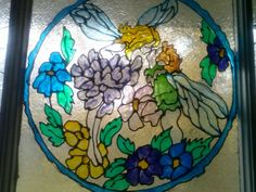 My painted gallery glass window.