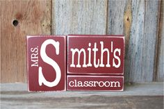 TEACHER gift, last name blocks  CLASSROOM- personalize for free, great for gift giving - With Vinyl Lettering wood blocks