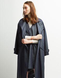 Le Ciel Bleu Denim Flare Coat, Asymmetrical Turtleneck Pullover, and Denim Dress
