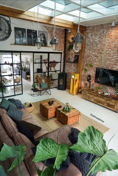 Industrial living room by. Loft Design, House Design, Industrial House, Home Decor Furniture, Interior Design Living Room, Home And Living, Interior And Exterior, Sweet Home, New Homes