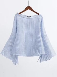 Blue Boat Neck Slit Bell Sleeve Blouse With Zipper