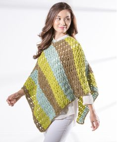 Premier Yarns Sweet Roll Star Stitch Crochet Poncho - free crochet patterns - crochet poncho pattern - how to crochet a cover up