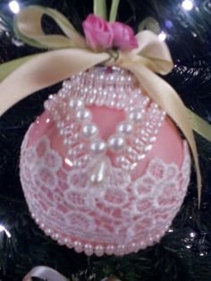 Handmade lace and pearl ornament