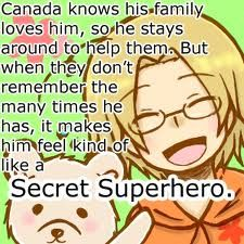 Hetalia Headcanon - Mattie / Canada yep that's what I think of him as a secret superhero in disguise