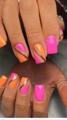 Bright Pink Nails, Hot Pink Nails, Orange Nails, Gold Nails, Glitter Nails, Nail Designs Hot Pink, Orange Nail Designs, Nail Art Designs, Cute Nail Art