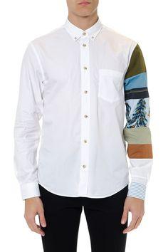 Acne Studios White Cotton Shirt With Printed Sleeve Runway Fashion, High Fashion, Mens Fashion, Fashion Shirts, Acne Studios, White Cotton, Shirt Style, Shirt Designs, Shirt Dress