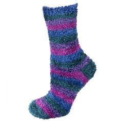 Striped extra plush socks – lavender/purple/green/blue | WOMEN \ Socks | SOXO socks, slippers, ballerina, tights online shop