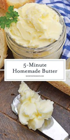 Homemade Butter in 5 Minutes! - How to Make Butter - Homemade Butter Recipe is ready in 5 minutes using your blender, heavy cream, ice water and salt. You'll wonder why you never made butter at home before! Flavored Butter, Pampered Chef Recipes, Cooking Recipes, Brenda Torres, Homemade Cheese, Homemade Food, Diy Food, Blender Recipes, Appetizers