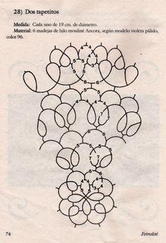 from La magia en tus manos Shuttle Tatting Patterns, Needle Tatting Patterns, Bobbin Lace Patterns, Thread Art, Needle And Thread, Filet Crochet, Knit Crochet, Pattern Art, Free Pattern