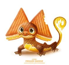 Daily Paint Frilled Cheese by Cryptid-Creations on DeviantArt Cute Food Drawings, Cute Animal Drawings Kawaii, Kawaii Drawings, Kawaii Art, Cute Fantasy Creatures, Mythical Creatures Art, Cute Creatures, Desenhos Cartoon Network, Animal Puns