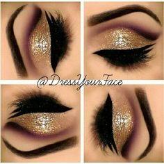 Cute makeup, eye makeup, eye shadow, double winged eyeliner