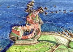 A reconstruction of Dunbar Castle by Andrew Spratt