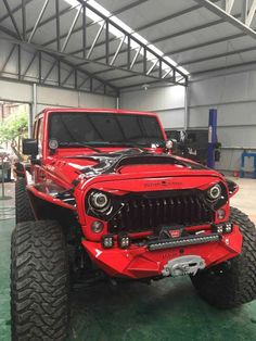 Red jeep with customized hood grill bumper and lift Jeep Wrangler Jk, Jeep Jk, Jeep Wrangler Unlimited, Jeep Truck, Jeep Rubicon, Jeep Bumpers, Red Jeep, Jeep Grill, Jeep Brand