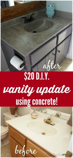 SERIOUSLY AMAZING! DIY vanity update using a concrete overly for under twenty bucks! Awesome bathroom ideas!