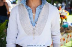 Layer it on: Chambray + Cashmere tunic + long pendant necklace