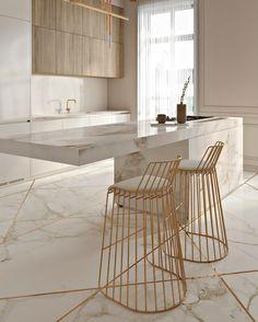 Cozinha elegante incrível com toques de ouro - KÜCHE - Modern Kitchen Design, Interior Design Kitchen, Modern Interior Design, Interior Decorating, Modern Bar, Marble Interior, Decorating Ideas, Gold Interior, Decorating Websites