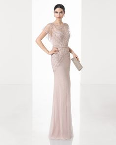 Long lightweight off-the-shoulder beaded embroidery dress (accessorised with shawl), in red, beige and black/nude.