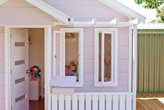 Cubbies with a designer edge from Home Sweet Cubby. Australian company taking the backyard cubby to the next level. Girls Playhouse, Build A Playhouse, Playhouse Outdoor, Wooden Playhouse, Playhouse Ideas, Kids Cubby Houses, Kids Cubbies, Play Houses, Tree Houses