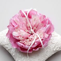 Peony ring pillow - wedding ring pillow, flower ring pillow, Bridal ring pillow ~ Custom Colors Available!