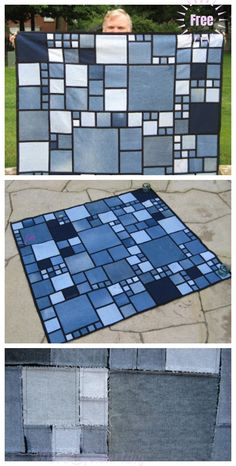 This DIY Recycled Denim Rag Quilt is great idea to recycle those unwanted old jeans into something new and useful for ho Denim Quilts, Denim Quilt Patterns, Blue Jean Quilts, Denim Rug, Denim Patchwork, Bag Patterns, Diy Denim, Diy Old Jeans, Denim Crafts