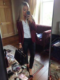Work Outfit - Black jeans, white shirt, burgundy blazer, black pointed heels, black bag