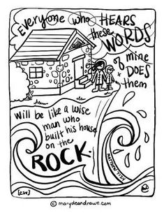Printable Coloring Sheet For Matthew 7 24 House Upon Rock
