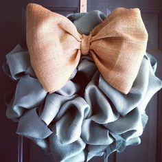Love this blue burlap wreath for a baby boy shower!