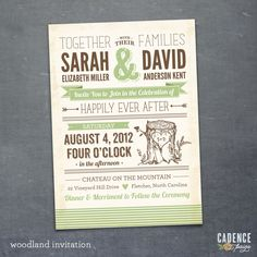Wedding Invitation, Woodland Wedding Invitation, Typographic Wedding Invitation (PRINTABLE). $25.00, via Etsy.
