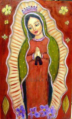 Our Lady of Guadalupe - original mixed media painting on wood