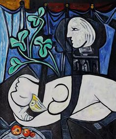 Nude, green leaves and Bust, 1932 by Picasso  Marie-Therese Walter is model for this painting, the Le Rêve, and Asleep. This painting looks confusing for me, it looks complicated.