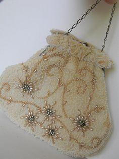 Holiday Sale vintage heirloom seed bead and rhinestone purse on Etsy, $40.00
