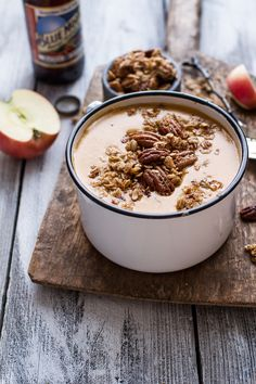 Brie & Cheddar Apple Soup with Cinnamon Pecan Oat Crumble