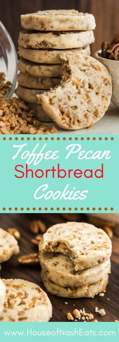Toffee Pecan Shortbread Cookies - 1 cup butter, cold and diced into small cubes • 2/3 cup powdered sugar • 1 1/2 teaspoons vanilla extract • 1/4 teaspoon salt • 2 cups all-purpose flour • 3/4 cup toffee bits, plus extra for topping (optional) • 1/2 cup finely chopped pecans, plus extra for topping (optional)