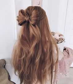 Cute Hair Bow Style | half up up down wedding hairstyle #wedding #hairstyle #halfuphalfdown #hairstyles
