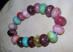 For sale at Retrophoria.com, $8.99 - Genuine Jade beaded bracelet. beautiful colors. unisex