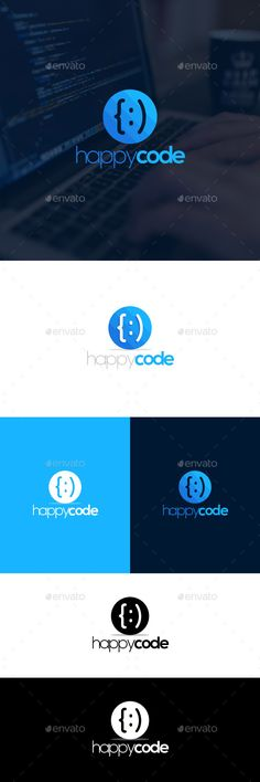 Logo template suitable for any programming / coding / developing company. The design involves two happy faces created by code bra